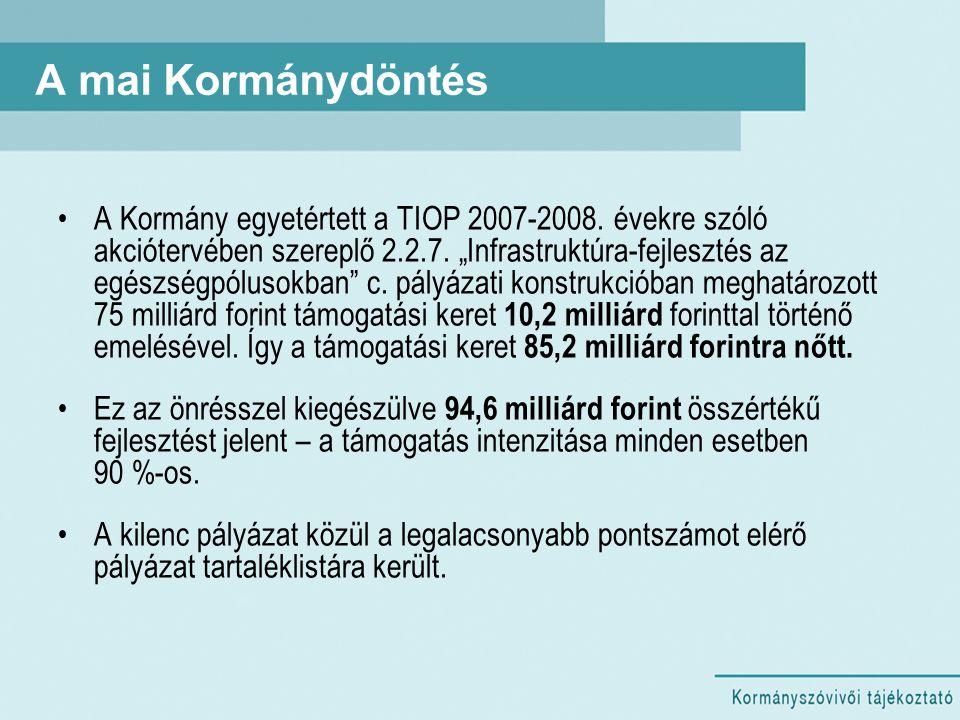"""A mai Kormánydöntés A Kormány egyetértett a TIOP 2007-2008. évekre szóló akciótervében szereplő 2.2.7. """"Infrastruktúra-fejlesztés az egészségpólusokba"""