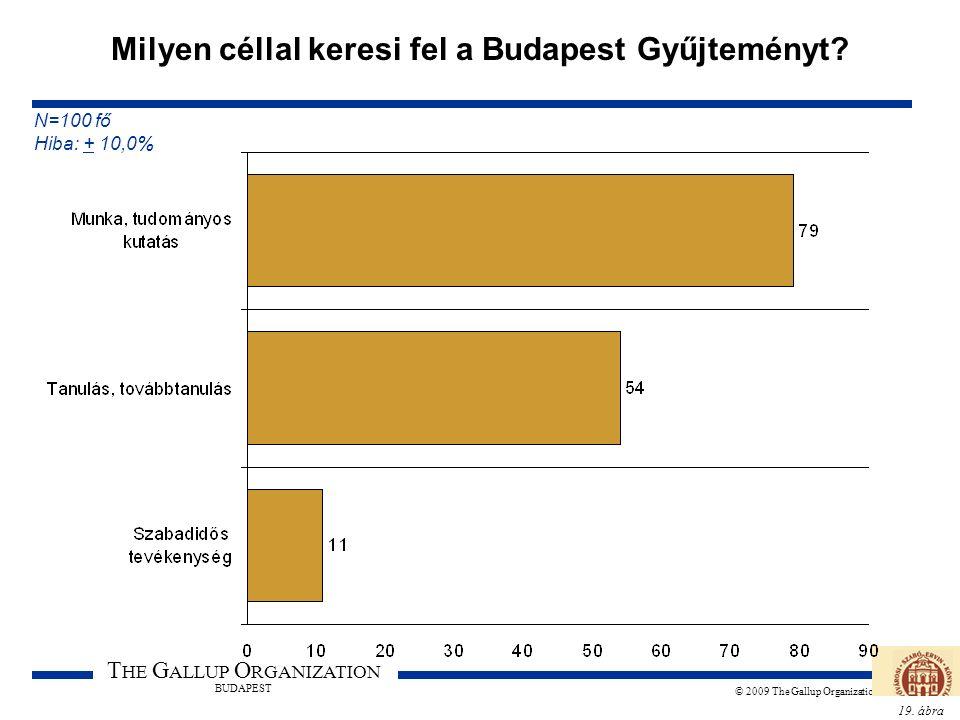 19. ábra T HE G ALLUP O RGANIZATION BUDAPEST © 2009 The Gallup Organization Milyen céllal keresi fel a Budapest Gyűjteményt? N=100 fő Hiba: + 10,0%
