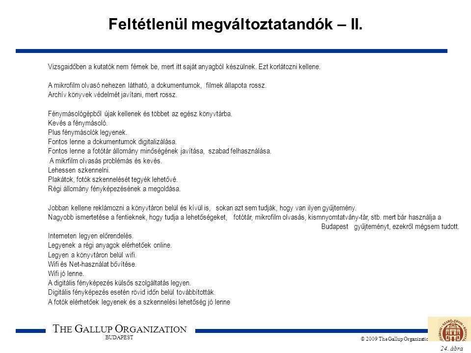 24. ábra T HE G ALLUP O RGANIZATION BUDAPEST © 2009 The Gallup Organization Feltétlenül megváltoztatandók – II. Vizsgaidőben a kutatók nem férnek be,