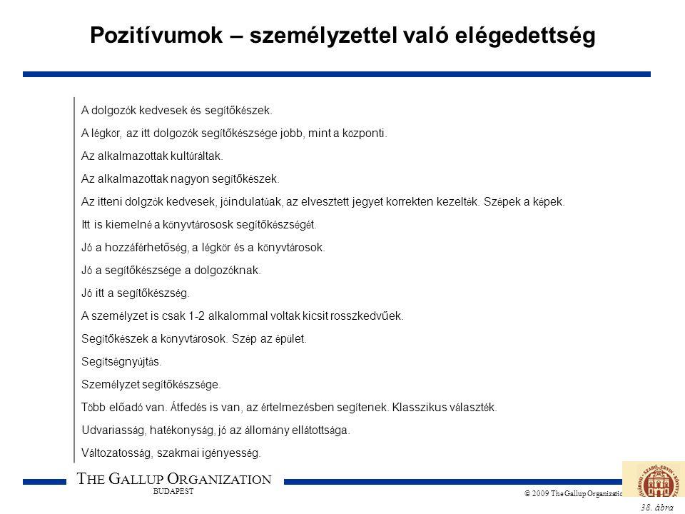 38. ábra T HE G ALLUP O RGANIZATION BUDAPEST © 2009 The Gallup Organization Pozitívumok – személyzettel való elégedettség A dolgoz ó k kedvesek é s se