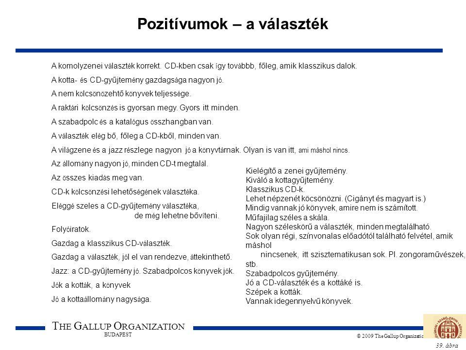 39. ábra T HE G ALLUP O RGANIZATION BUDAPEST © 2009 The Gallup Organization Pozitívumok – a választék A komolyzenei v á laszt é k korrekt. CD-kben csa