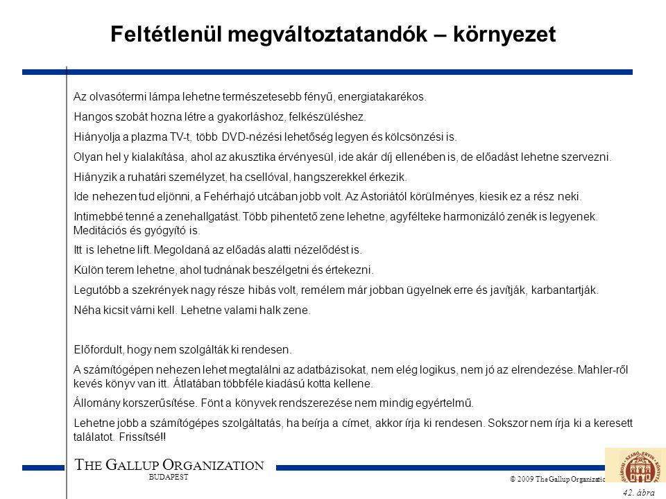 42. ábra T HE G ALLUP O RGANIZATION BUDAPEST © 2009 The Gallup Organization Feltétlenül megváltoztatandók – környezet Az olvasótermi lámpa lehetne ter
