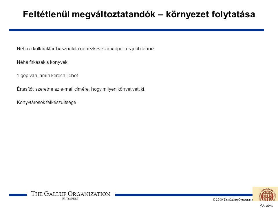 43. ábra T HE G ALLUP O RGANIZATION BUDAPEST © 2009 The Gallup Organization Feltétlenül megváltoztatandók – környezet folytatása Néha a kottaraktár ha