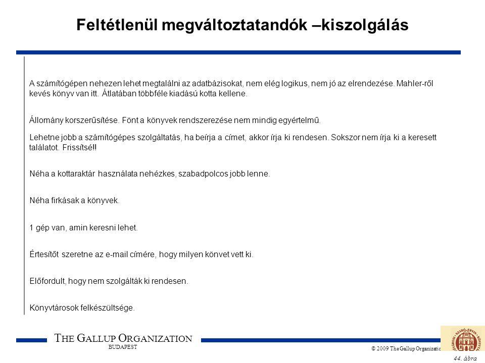 44. ábra T HE G ALLUP O RGANIZATION BUDAPEST © 2009 The Gallup Organization Feltétlenül megváltoztatandók –kiszolgálás A számítógépen nehezen lehet me