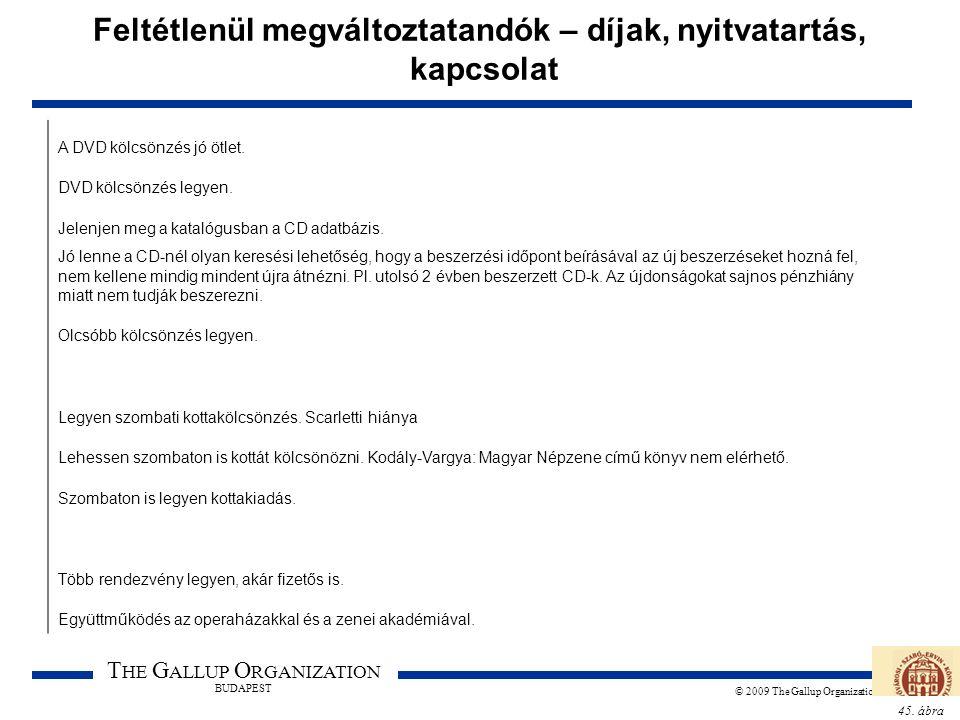 45. ábra T HE G ALLUP O RGANIZATION BUDAPEST © 2009 The Gallup Organization Feltétlenül megváltoztatandók – díjak, nyitvatartás, kapcsolat A DVD kölcs