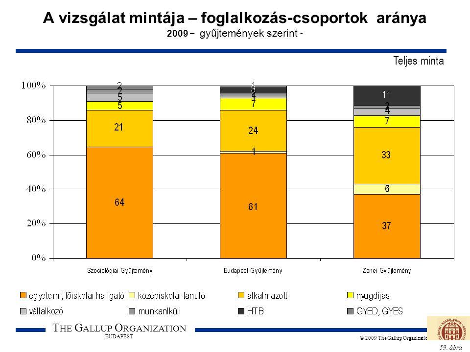 59. ábra T HE G ALLUP O RGANIZATION BUDAPEST © 2009 The Gallup Organization A vizsgálat mintája – foglalkozás-csoportok aránya 2009 – gyűjtemények sze