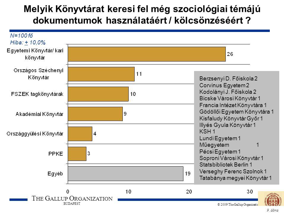 9. ábra T HE G ALLUP O RGANIZATION BUDAPEST © 2009 The Gallup Organization Melyik Könyvtárat keresi fel még szociológiai témájú dokumentumok használat