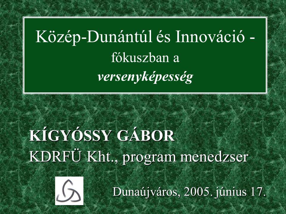 Közép-Dunántúl és Innováció - fókuszban a versenyképesség KÍGYÓSSY GÁBOR KDRFÜ Kht., program menedzser Dunaújváros, 2005.