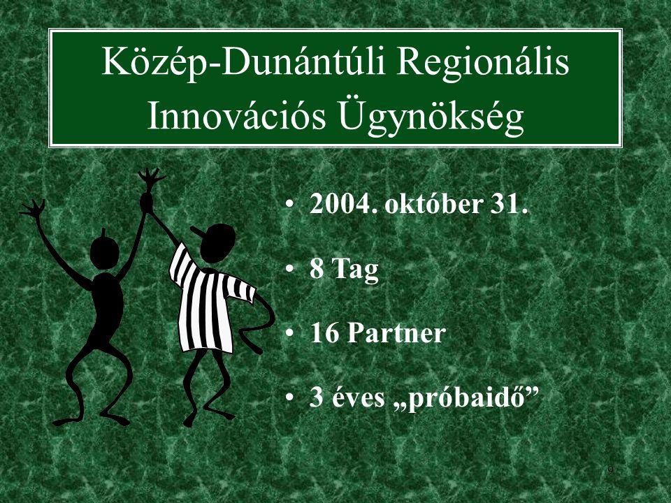 9 Közép-Dunántúli Regionális Innovációs Ügynökség 2004.