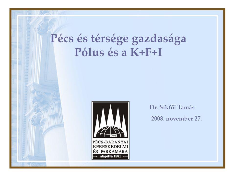Pécs és térsége gazdasága Pólus és a K+F+I 2008. november 27. Dr. Síkfői Tamás