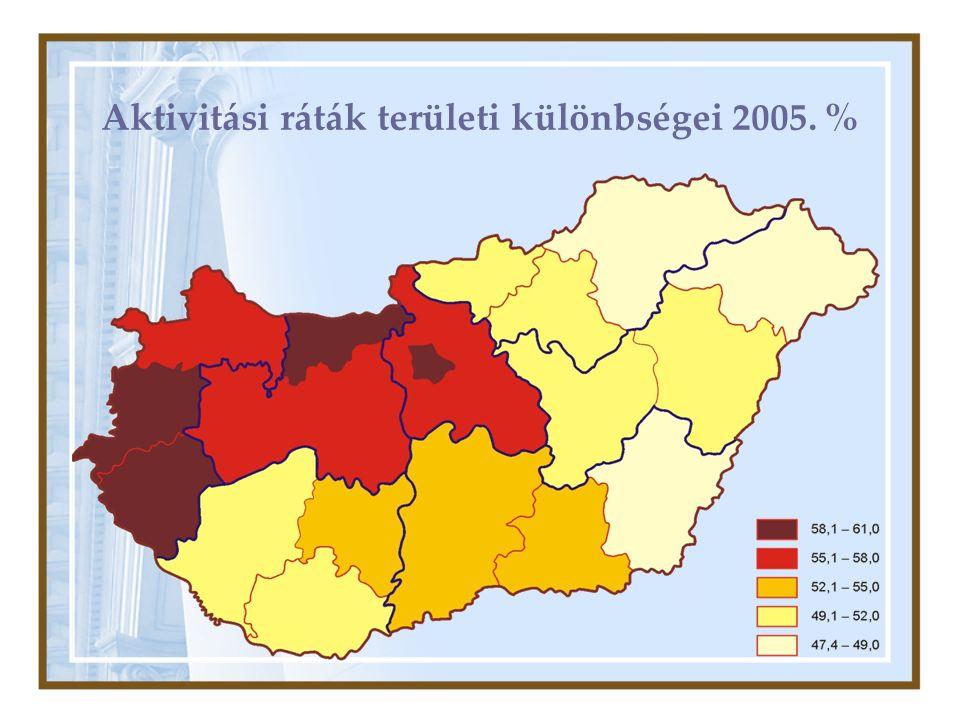 Aktivitási ráták területi különbségei 2005. %