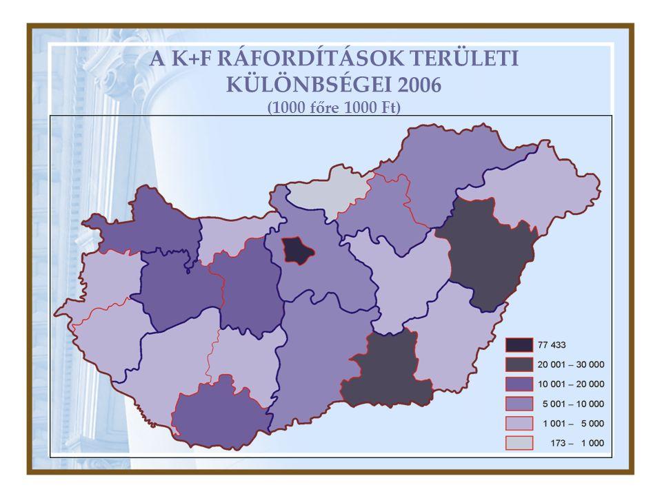 A K+F RÁFORDÍTÁSOK TERÜLETI KÜLÖNBSÉGEI 2006 (1000 főre 1000 Ft)