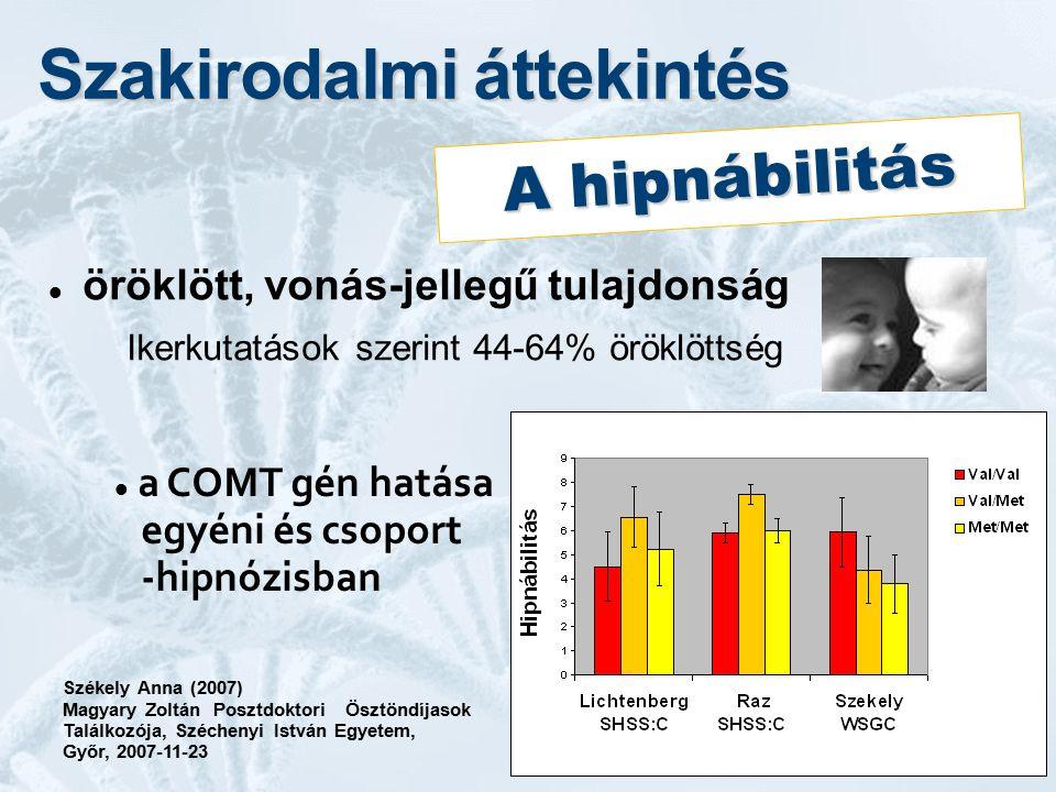 Szakirodalmi áttekintés öröklött, vonás-jellegű tulajdonság Ikerkutatások szerint 44-64% öröklöttség Székely Anna (2007) Magyary Zoltán Posztdoktori Ö