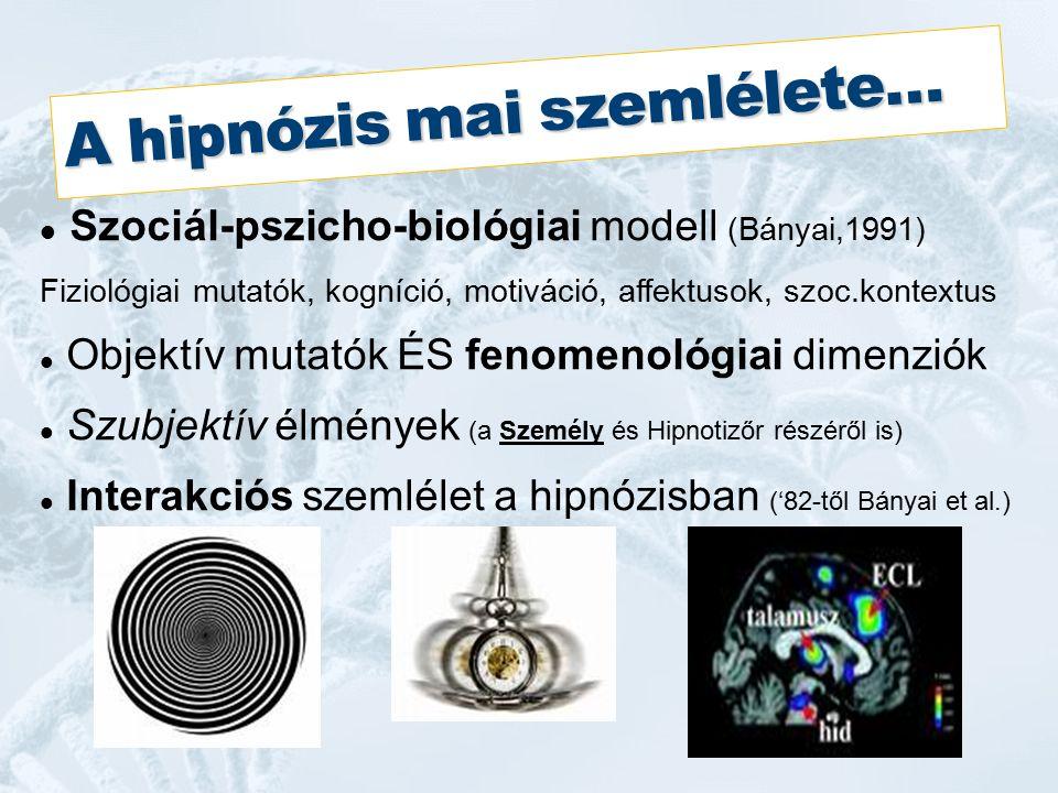 A hipnózis mai szemlélete… Szociál-pszicho-biológiai modell (Bányai,1991) Fiziológiai mutatók, kogníció, motiváció, affektusok, szoc.kontextus Objektív mutatók ÉS fenomenológiai dimenziók Szubjektív élmények (a Személy és Hipnotizőr részéről is) Interakciós szemlélet a hipnózisban ('82-től Bányai et al.)