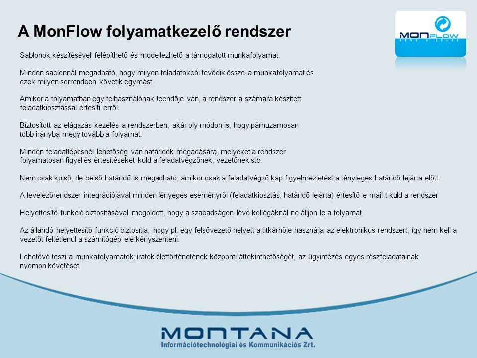 A MonFlow folyamatkezelő rendszer Sablonok készítésével felépíthető és modellezhető a támogatott munkafolyamat.