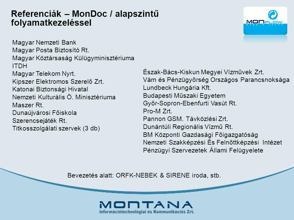 Referenciák – MonDoc / alapszintű folyamatkezeléssel Magyar Nemzeti Bank Magyar Posta Biztosító Rt.