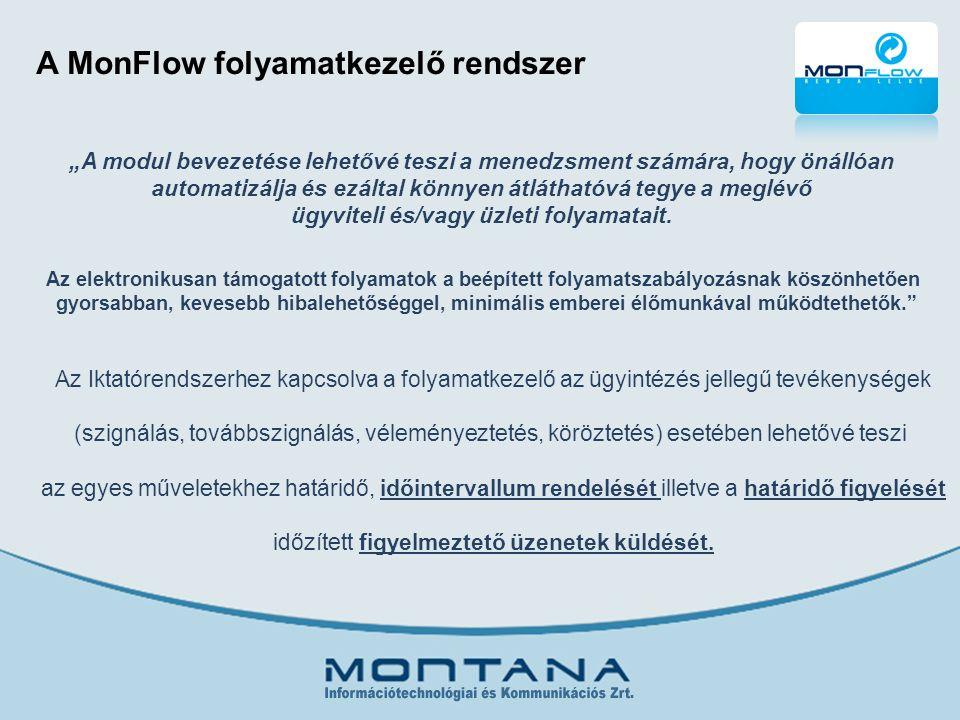 """A MonFlow folyamatkezelő rendszer """"A modul bevezetése lehetővé teszi a menedzsment számára, hogy önállóan automatizálja és ezáltal könnyen átláthatóvá tegye a meglévő ügyviteli és/vagy üzleti folyamatait."""