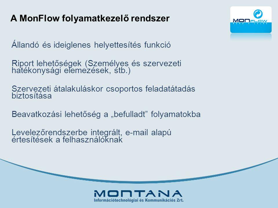 """A MonFlow folyamatkezelő rendszer Állandó és ideiglenes helyettesítés funkció Riport lehetőségek (Személyes és szervezeti hatékonysági elemezések, stb.) Szervezeti átalakuláskor csoportos feladatátadás biztosítása Beavatkozási lehetőség a """"befulladt folyamatokba Levelezőrendszerbe integrált, e-mail alapú értesítések a felhasználóknak"""