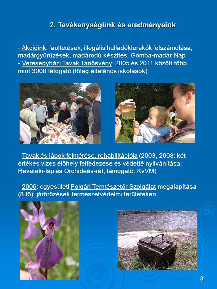 3 2. Tevékenységünk és eredményeink - Akcióink: faültetések, illegális hulladéklerakók felszámolása, madárgyűrűzések, madárodú készítés, Gomba-madár N
