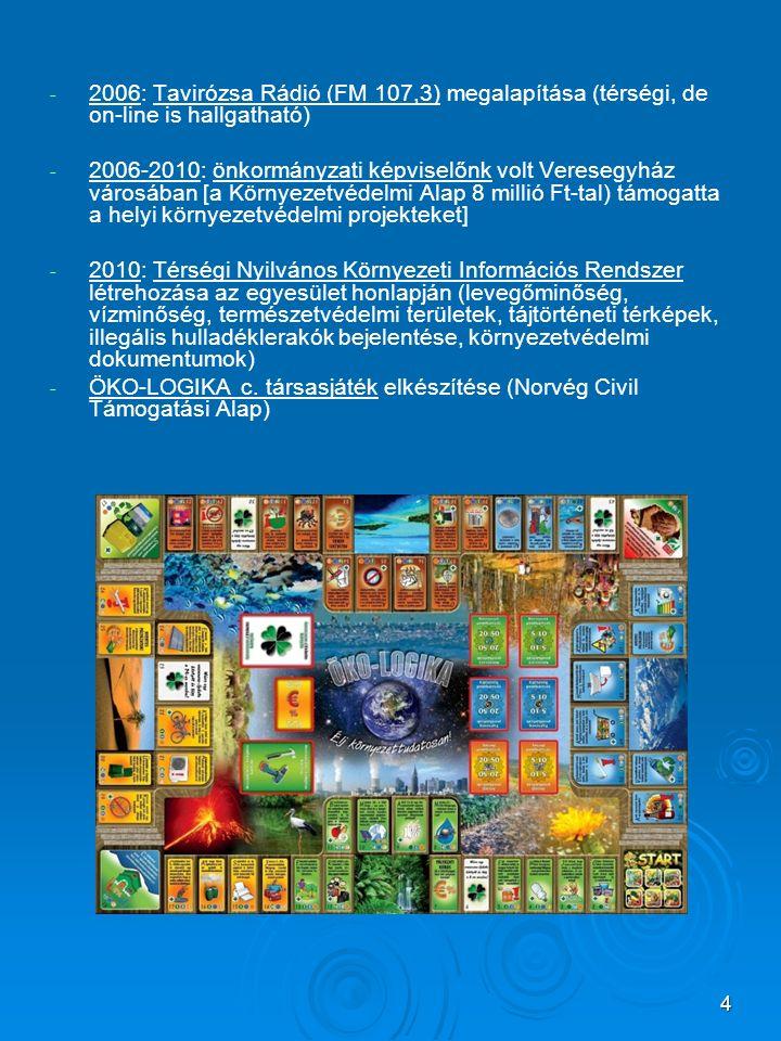 4 - - 2006: Tavirózsa Rádió (FM 107,3) megalapítása (térségi, de on-line is hallgatható) - - 2006-2010: önkormányzati képviselőnk volt Veresegyház vár