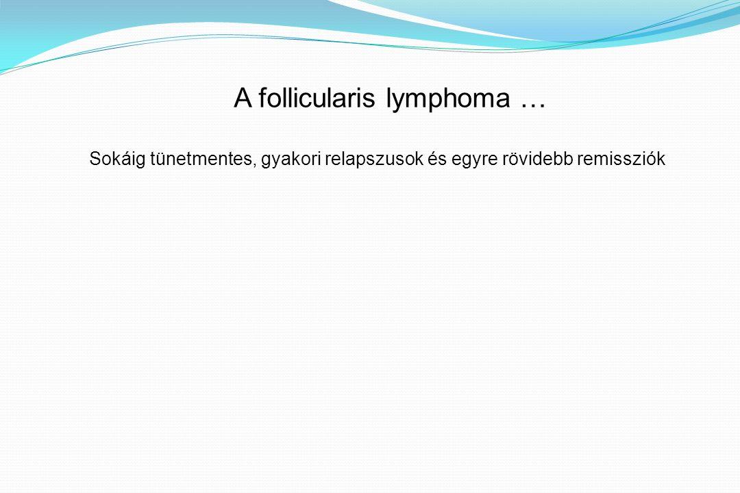 Sokáig tünetmentes, gyakori relapszusok és egyre rövidebb remissziók A follicularis lymphoma …