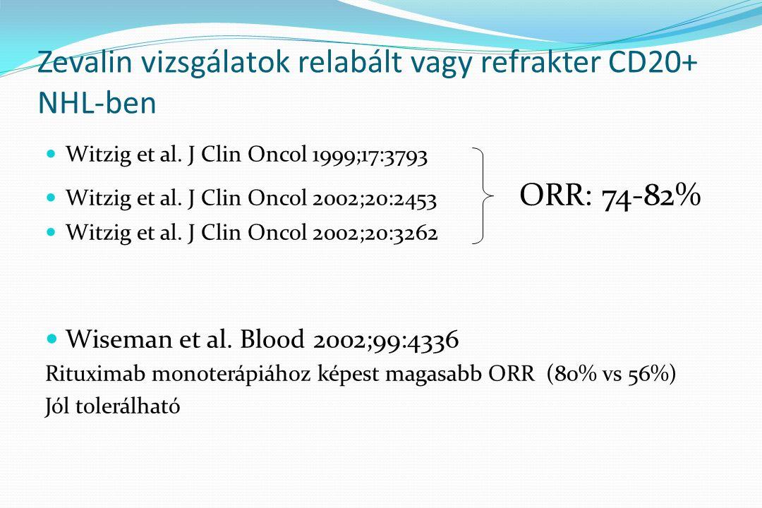 Zevalin kezelést követő nem hematológiai mellékhatás: Nem volt Infúziós reakció: nem volt Grade 3 infekció: 3 hónapon belül 1x volt _____________________________________________________ a Zevalinnal újrakezelt egyik betegen a kezelést követő 24.