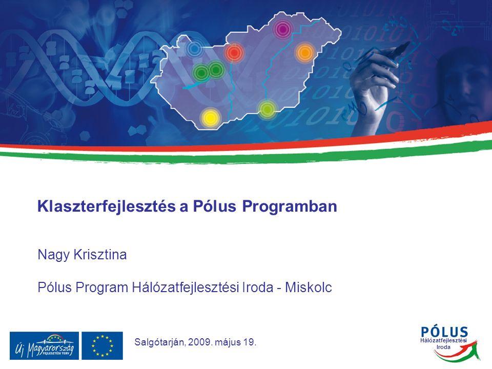 Hálózatfejlesztési Iroda Nagy Krisztina Pólus Program Hálózatfejlesztési Iroda - Miskolc Klaszterfejlesztés a Pólus Programban Salgótarján, 2009.