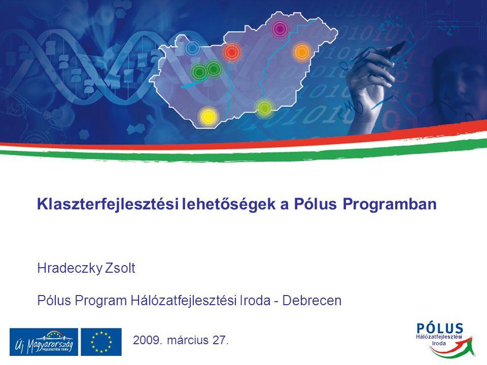 Hálózatfejlesztési Iroda HFI-Győr HFI-Budapest HFI-Miskolc HFI-Debrecen HFI-Szeged HFI-Pécs HFI-Veszprém/Székesfehérvár 32 HFI-k feladata: A vállalkozások hálózatosodásának elősegítése, a klaszterek kialakulásának és fejlődésének támogatása Hálózatfejlesztési Irodák (HFI) Forrás: PPI, HFI, EPAP