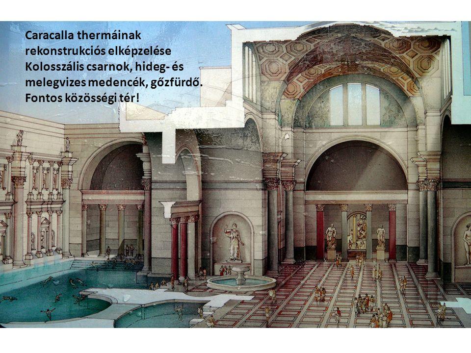 Caracalla thermáinak rekonstrukciós elképzelése Kolosszális csarnok, hideg- és melegvizes medencék, gőzfürdő.