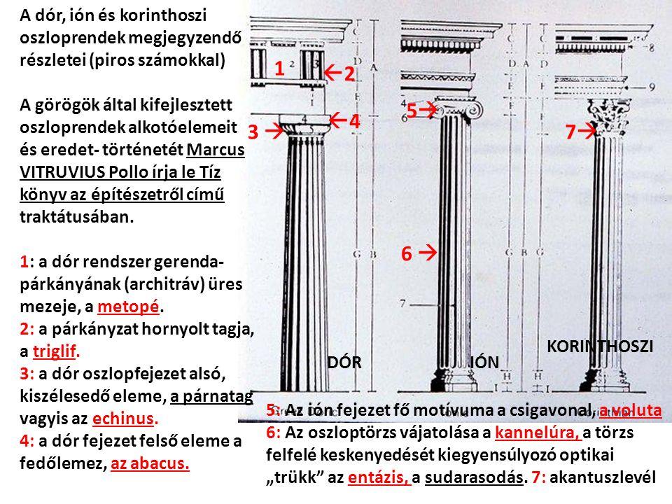 1 22 3  44 DÓRIÓN KORINTHOSZI 55 6  77 A dór, ión és korinthoszi oszloprendek megjegyzendő részletei (piros számokkal) A görögök által kifejlesztett oszloprendek alkotóelemeit és eredet- történetét Marcus VITRUVIUS Pollo írja le Tíz könyv az építészetről című traktátusában.