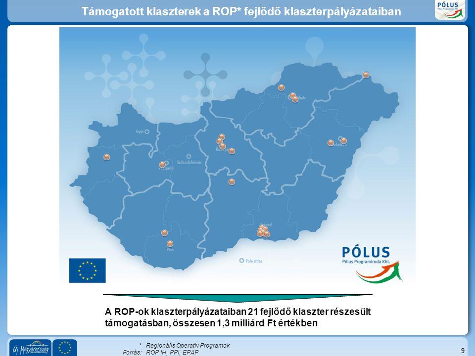 Támogatott klaszterek a ROP* fejlődő klaszterpályázataiban 9 A ROP-ok klaszterpályázataiban 21 fejlődő klaszter részesült támogatásban, összesen 1,3 milliárd Ft értékben * Regionális Operatív Programok Forrás:ROP IH, PPI, EPAP