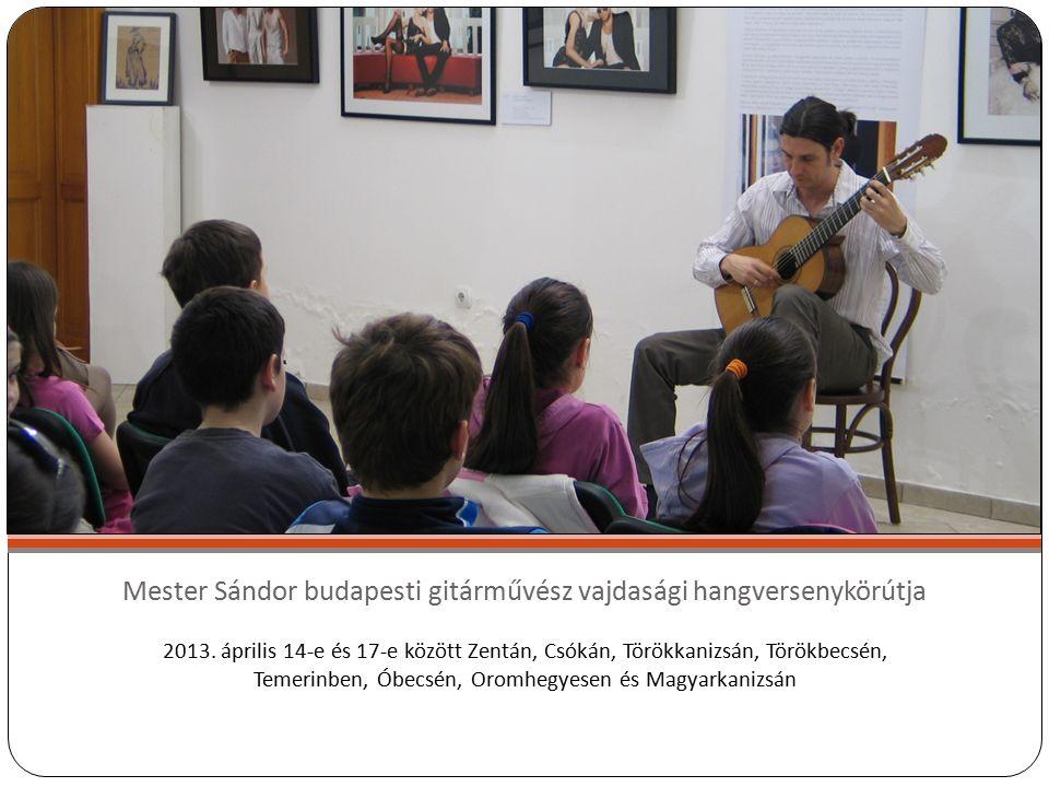 Mester Sándor budapesti gitárművész vajdasági hangversenykörútja 2013.