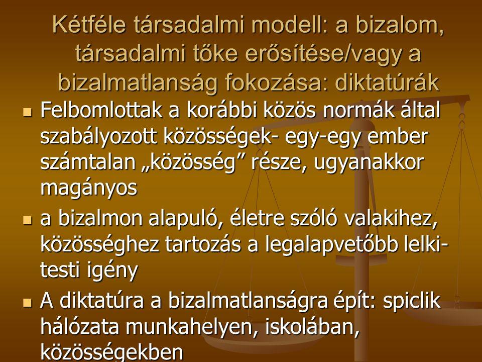 """Az anómiás állapot jellemzői: Társadalmi normák, közös erkölcsi elvek meggyengülése, a közös jövőkép, a társadalmi szolidaritás hiánya (Dürkheim, Andorka Rudolf) Társadalmi normák, közös erkölcsi elvek meggyengülése, a közös jövőkép, a társadalmi szolidaritás hiánya (Dürkheim, Andorka Rudolf) ez a lelkiállapot állandó bizonytalanságot, """"tanult tehetetlenséget , krónikus stressz állapotot eredményez, hiszen a hosszú távú tervezés lehetősége alapvető emberi igény ez a lelkiállapot állandó bizonytalanságot, """"tanult tehetetlenséget , krónikus stressz állapotot eredményez, hiszen a hosszú távú tervezés lehetősége alapvető emberi igény ez a legfontosabb kockázati tényező a mai magyar társadalomban ez a legfontosabb kockázati tényező a mai magyar társadalomban Mind az idő előtti egészségromlás, Mind az idő előtti egészségromlás, Mind a demográfiai válság hátterében Mind a demográfiai válság hátterében különösen súlyos probléma a társadalom esélytelen, leszakadó rétegeiben különösen súlyos probléma a társadalom esélytelen, leszakadó rétegeiben"""