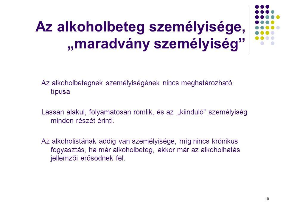 """10 Az alkoholbeteg személyisége, """"maradvány személyiség Az alkoholbetegnek személyiségének nincs meghatározható típusa Lassan alakul, folyamatosan romlik, és az """"kiinduló személyiség minden részét érinti."""