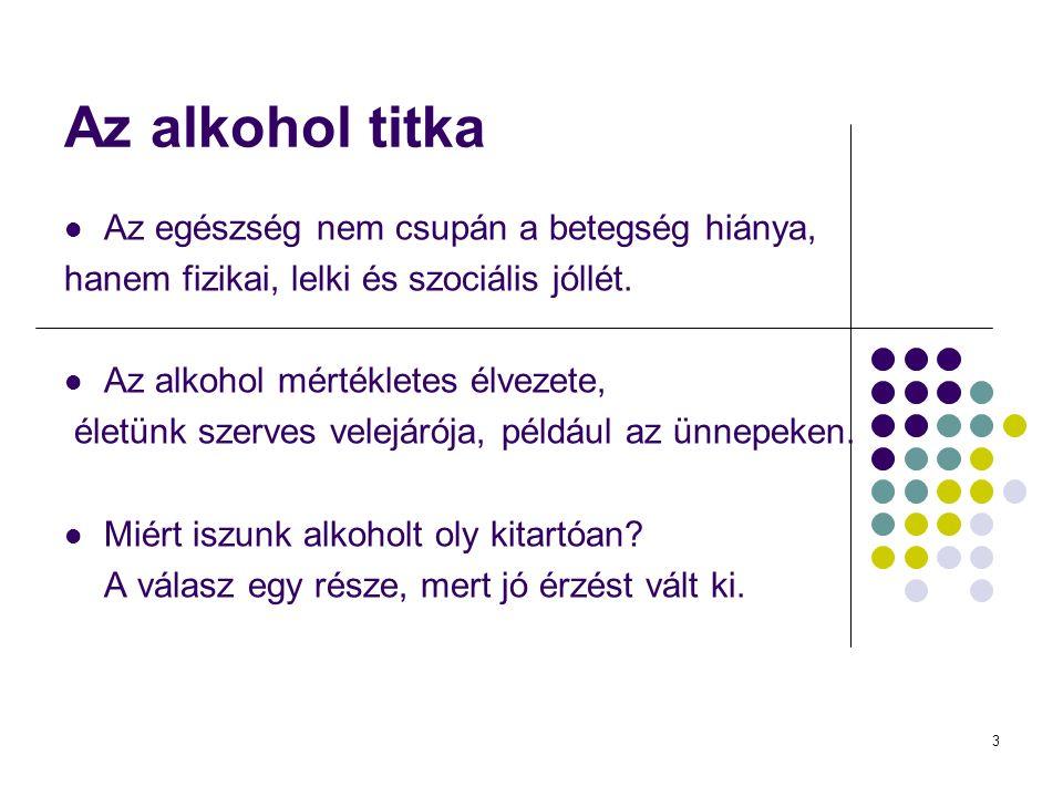 3 Az alkohol titka Az egészség nem csupán a betegség hiánya, hanem fizikai, lelki és szociális jóllét.