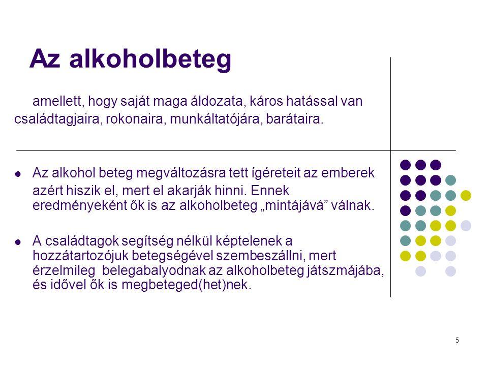 5 Az alkoholbeteg amellett, hogy saját maga áldozata, káros hatással van családtagjaira, rokonaira, munkáltatójára, barátaira.