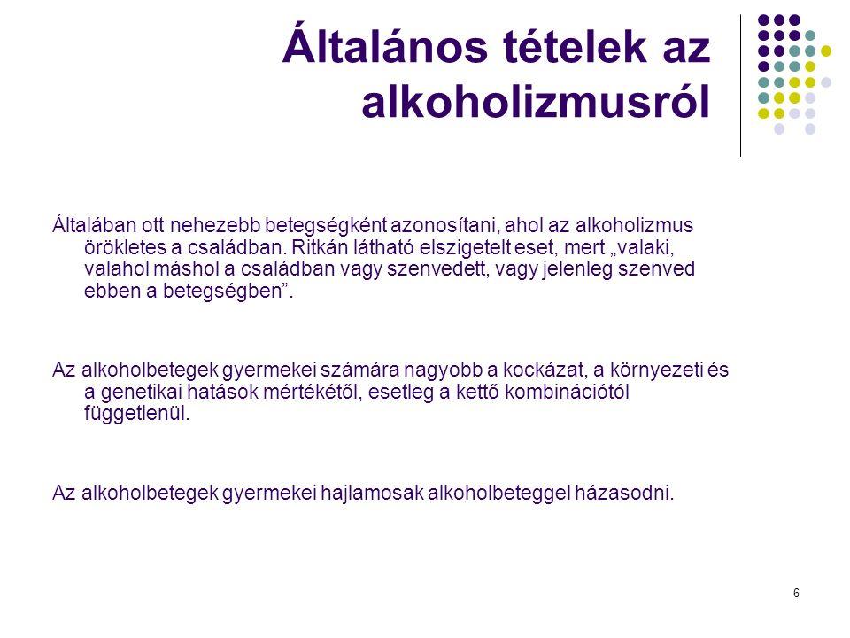 6 Általános tételek az alkoholizmusról Általában ott nehezebb betegségként azonosítani, ahol az alkoholizmus örökletes a családban.
