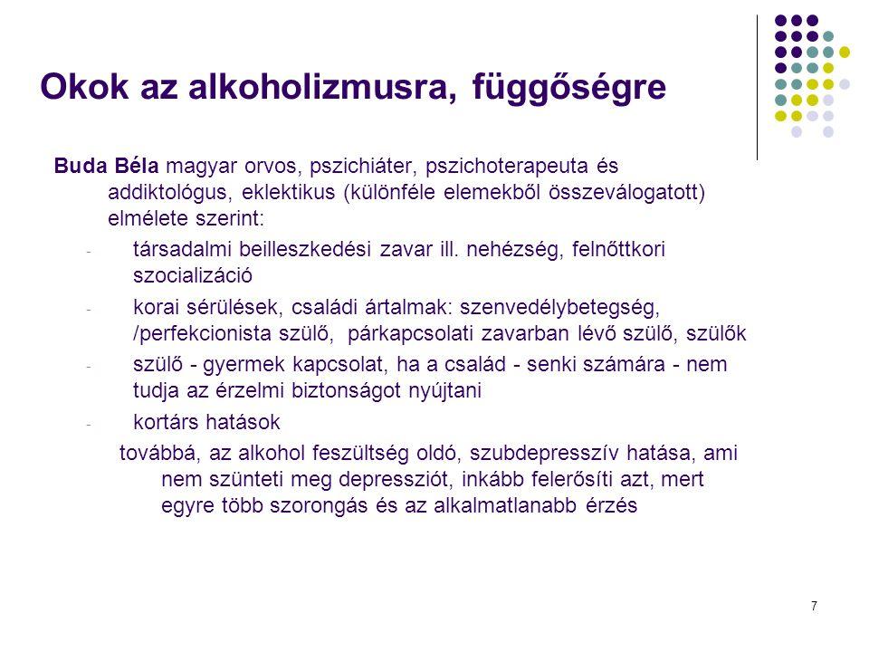 7 Buda Béla magyar orvos, pszichiáter, pszichoterapeuta és addiktológus, eklektikus (különféle elemekből összeválogatott) elmélete szerint: - társadalmi beilleszkedési zavar ill.