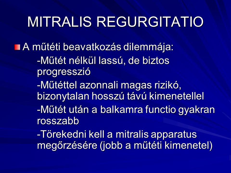 MITRALIS REGURGITATIO A műtéti beavatkozás dilemmája: -Műtét nélkül lassú, de biztos progresszió -Műtéttel azonnali magas rizikó, bizonytalan hosszú t