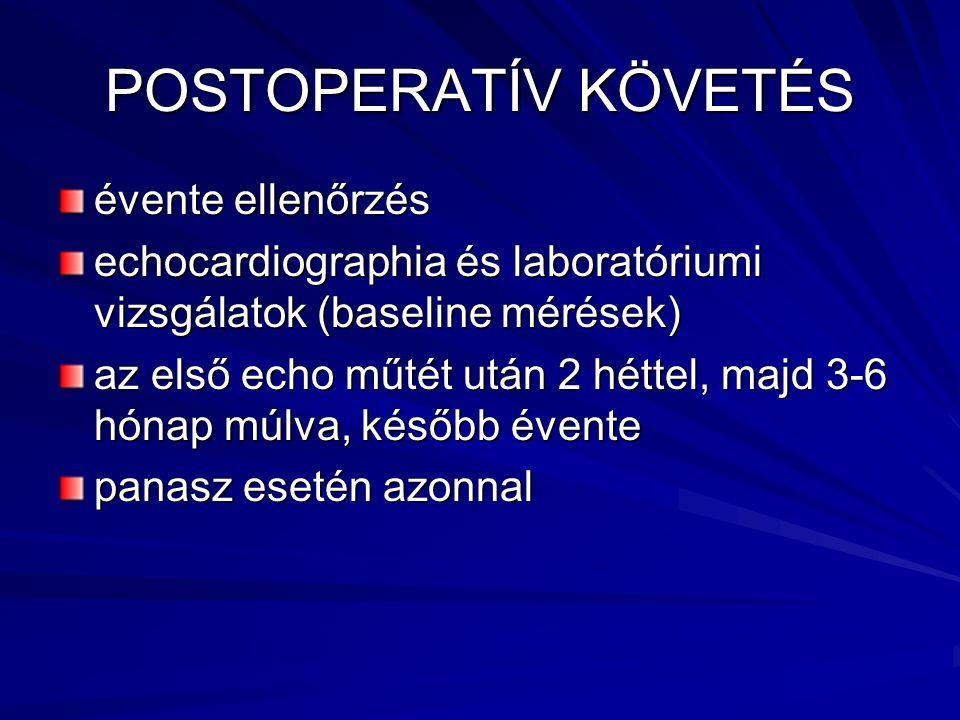 POSTOPERATÍV KÖVETÉS évente ellenőrzés echocardiographia és laboratóriumi vizsgálatok (baseline mérések) az első echo műtét után 2 héttel, majd 3-6 hó