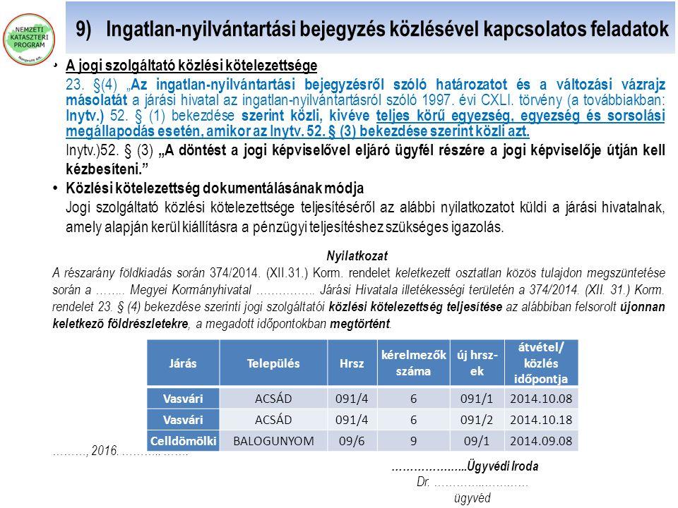 """9) Ingatlan-nyilvántartási bejegyzés közlésével kapcsolatos feladatok A jogi szolgáltató közlési kötelezettsége 23. §(4) """" Az ingatlan-nyilvántartási"""