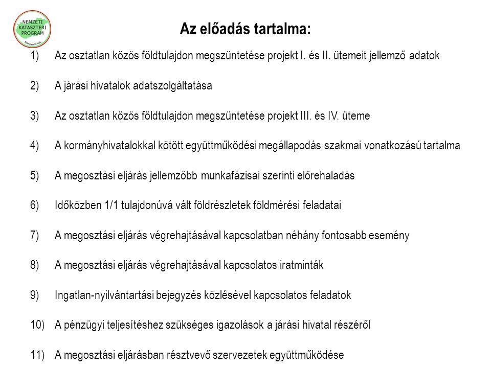 Az előadás tartalma: 1)Az osztatlan közös földtulajdon megszüntetése projekt I. és II. ütemeit jellemző adatok 2)A járási hivatalok adatszolgáltatása