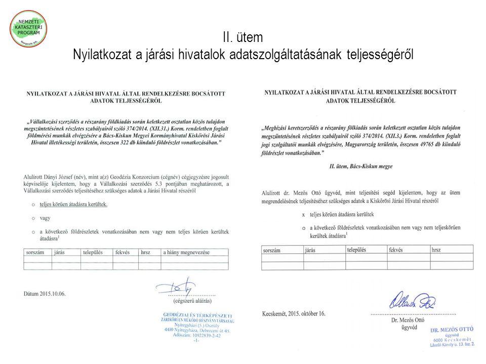 II. ütem Nyilatkozat a járási hivatalok adatszolgáltatásának teljességéről