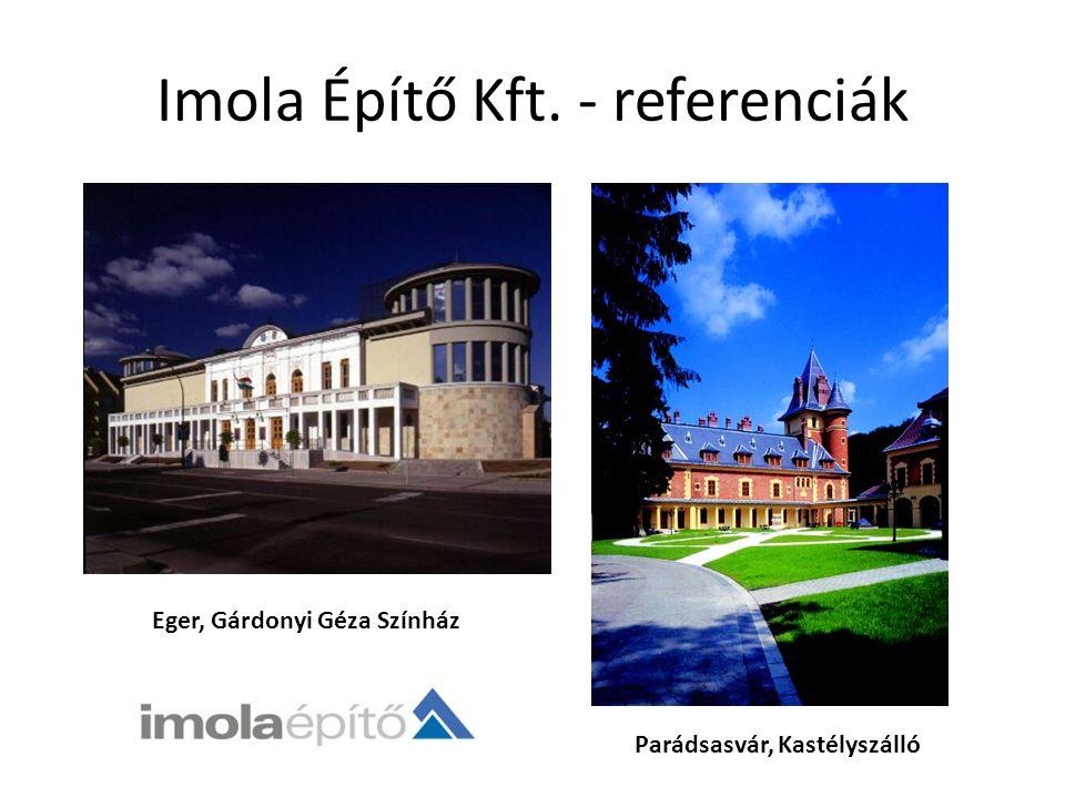 Imola Építő Kft. - referenciák Eger, Gárdonyi Géza Színház Parádsasvár, Kastélyszálló