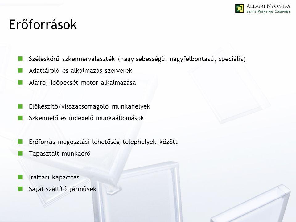 Erőforrások Széleskörű szkennerválaszték (nagy sebességű, nagyfelbontású, speciális) Adattároló és alkalmazás szerverek Aláíró, időpecsét motor alkalmazása Előkészítő/visszacsomagoló munkahelyek Szkennelő és indexelő munkaállomások Erőforrás megosztási lehetőség telephelyek között Tapasztalt munkaerő Irattári kapacitás Saját szállító járművek
