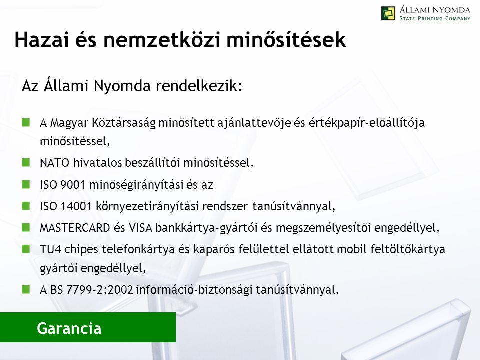 Hazai és nemzetközi minősítések Az Állami Nyomda rendelkezik: A Magyar Köztársaság minősített ajánlattevője és értékpapír-előállítója minősítéssel, NATO hivatalos beszállítói minősítéssel, ISO 9001 minőségirányítási és az ISO 14001 környezetirányítási rendszer tanúsítvánnyal, MASTERCARD és VISA bankkártya-gyártói és megszemélyesítői engedéllyel, TU4 chipes telefonkártya és kaparós felülettel ellátott mobil feltöltőkártya gyártói engedéllyel, A BS 7799-2:2002 információ-biztonsági tanúsítvánnyal.