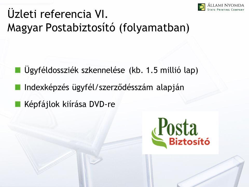 Üzleti referencia VI. Magyar Postabiztosító (folyamatban) Ügyféldossziék szkennelése (kb.