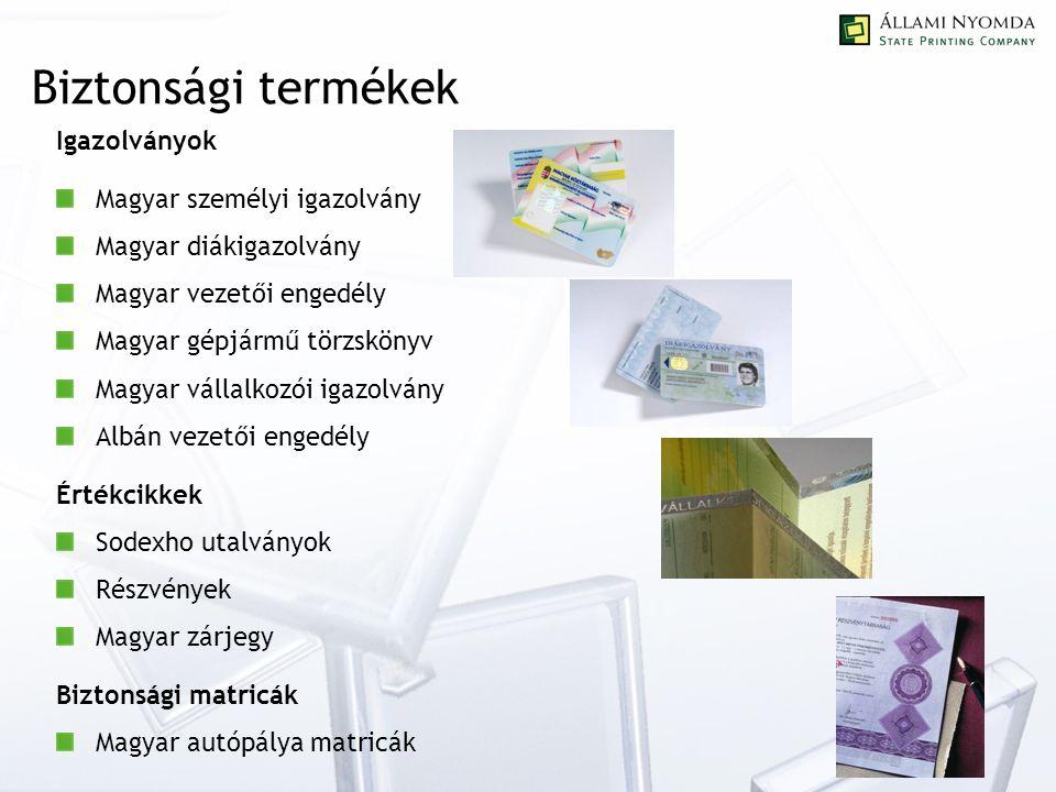 Kártyagyártás Több millió kártya gyártására és megszemélyesítésére került sor 1998 óta Telefonkártyák Kereskedelmi kártyák Bankkártyák Okmánykártyák