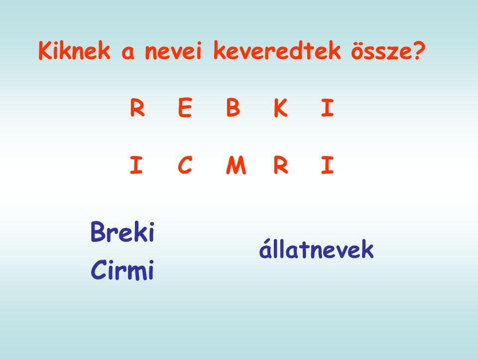 Kiknek a nevei keveredtek össze REBKI ICMRI Breki Cirmi állatnevek