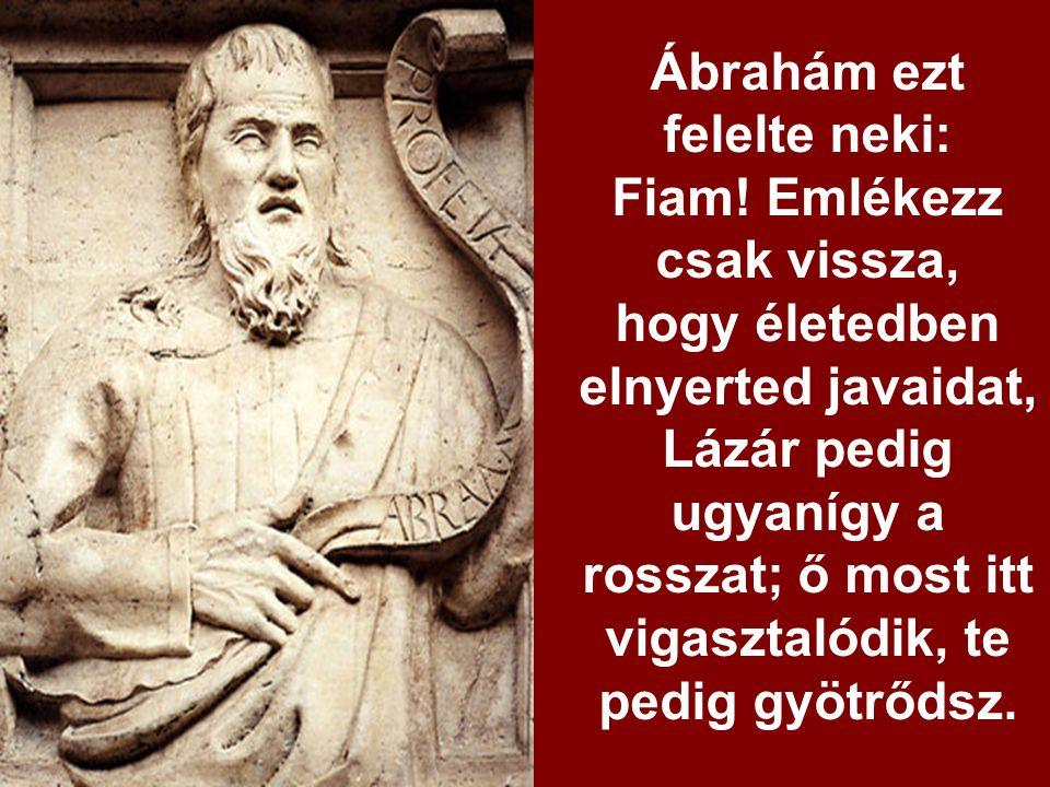 Ekkor felkiáltott neki:,,Atyám, Ábrahám. Könyörülj rajtam.